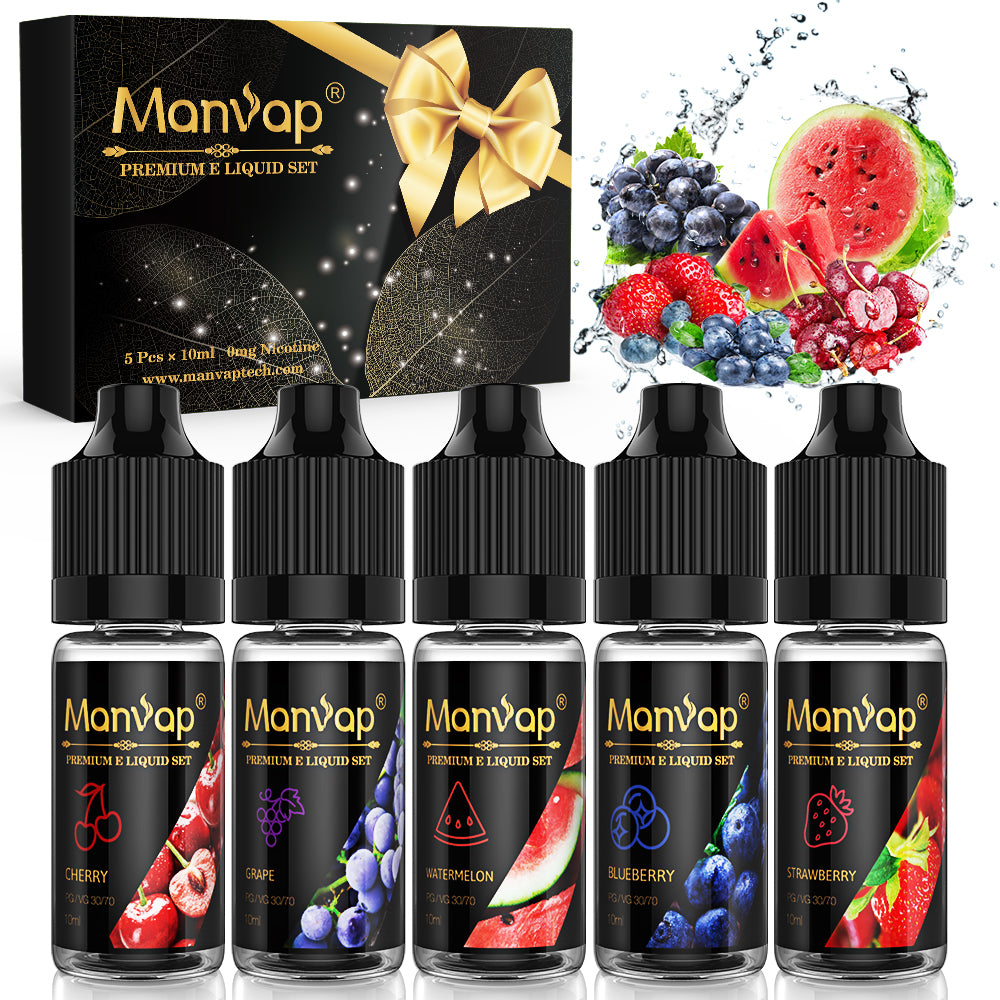 Manvap® Fruit Mint E Liquid Vape Liquid 5 Pack Electronic Liquid E Juice for E Cigarette Electronic, Juice Flavouring E-Liquid No Nicotine
