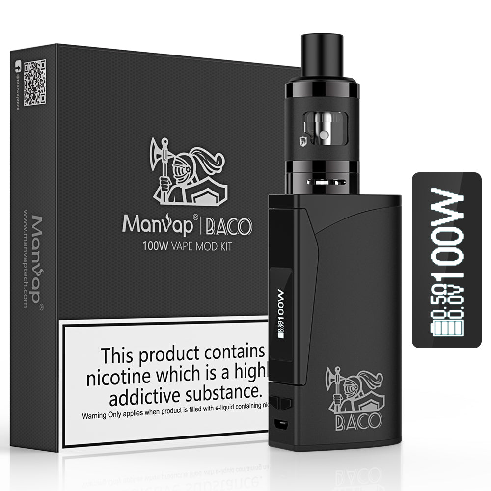 Manvap® BACO 100W  E Cigarette Starter Kit Box Mod,Tank with 2ml Electronic Cigarette