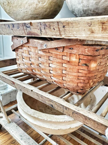 Flea market finds for fall home decor including baskets, ironstone, and grain
