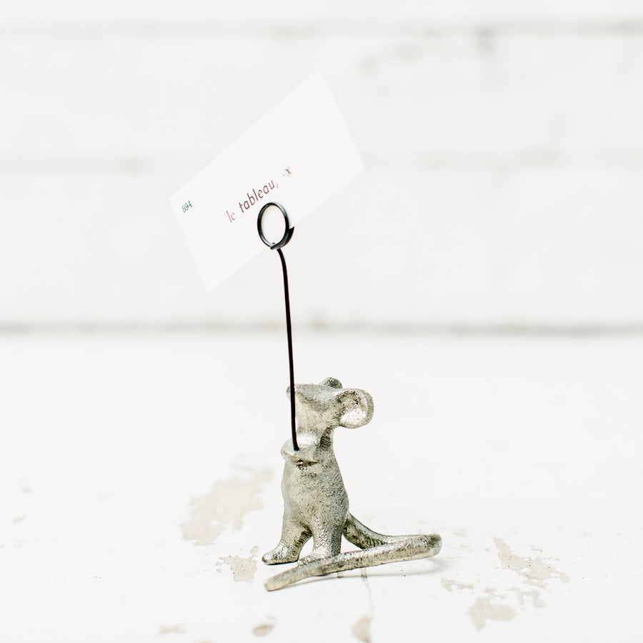 Cast Iron Mouse Card Holder