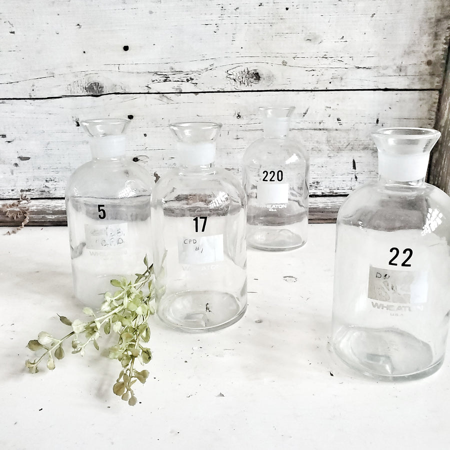 Set of 4  Vintage Numbered Laboratory Bottles