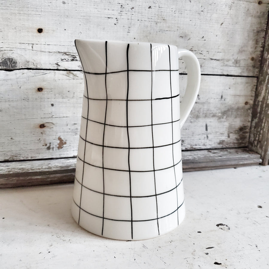 White Ceramic Black Gingham Pattern Pitcher