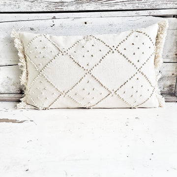 French Knot & Fringe Accent Pillow