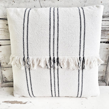 Cotton French Stripe Natural Slub Pillow