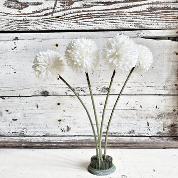 Set of Four White Pom Pom Flowers