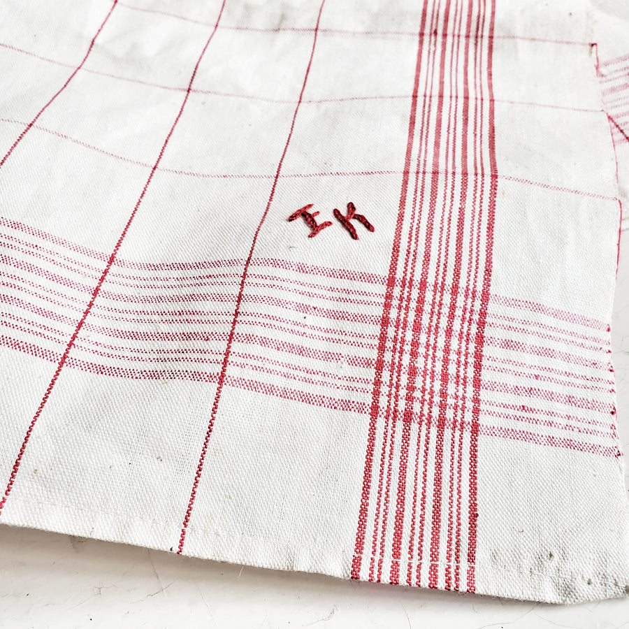 Vintage French Red Stripe Linen Monogrammed Dish Towel