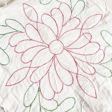 Hand stitched Flour Sack Quilt Square with Pink Flower
