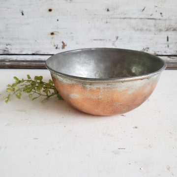 Thick Vintage Copper and Metal Mixing Bowl 6 inch