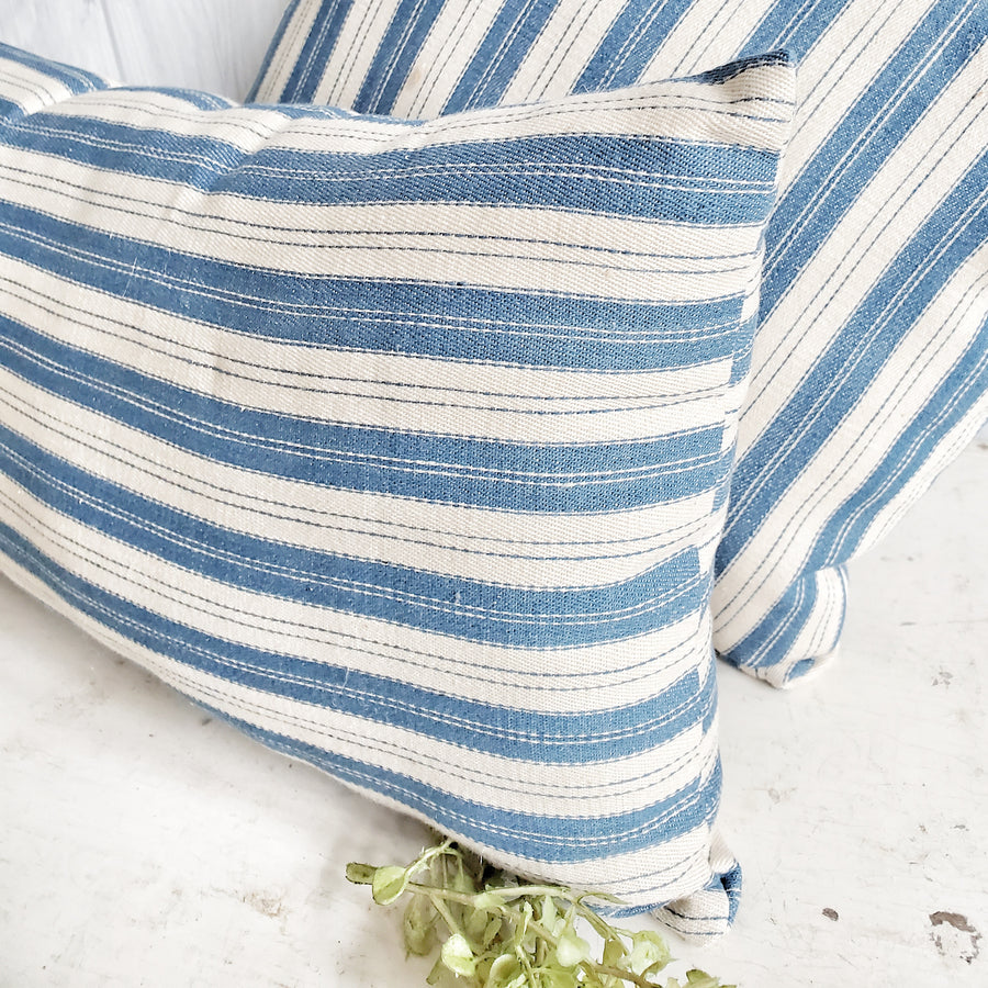 Vintage French Stripe Blue ticking pillow