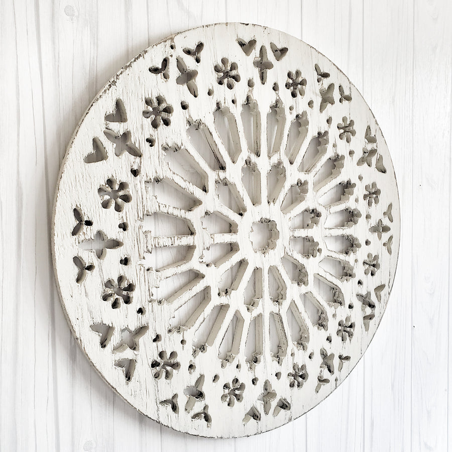 Chippy White Cut Out  Wood Medallion Boho