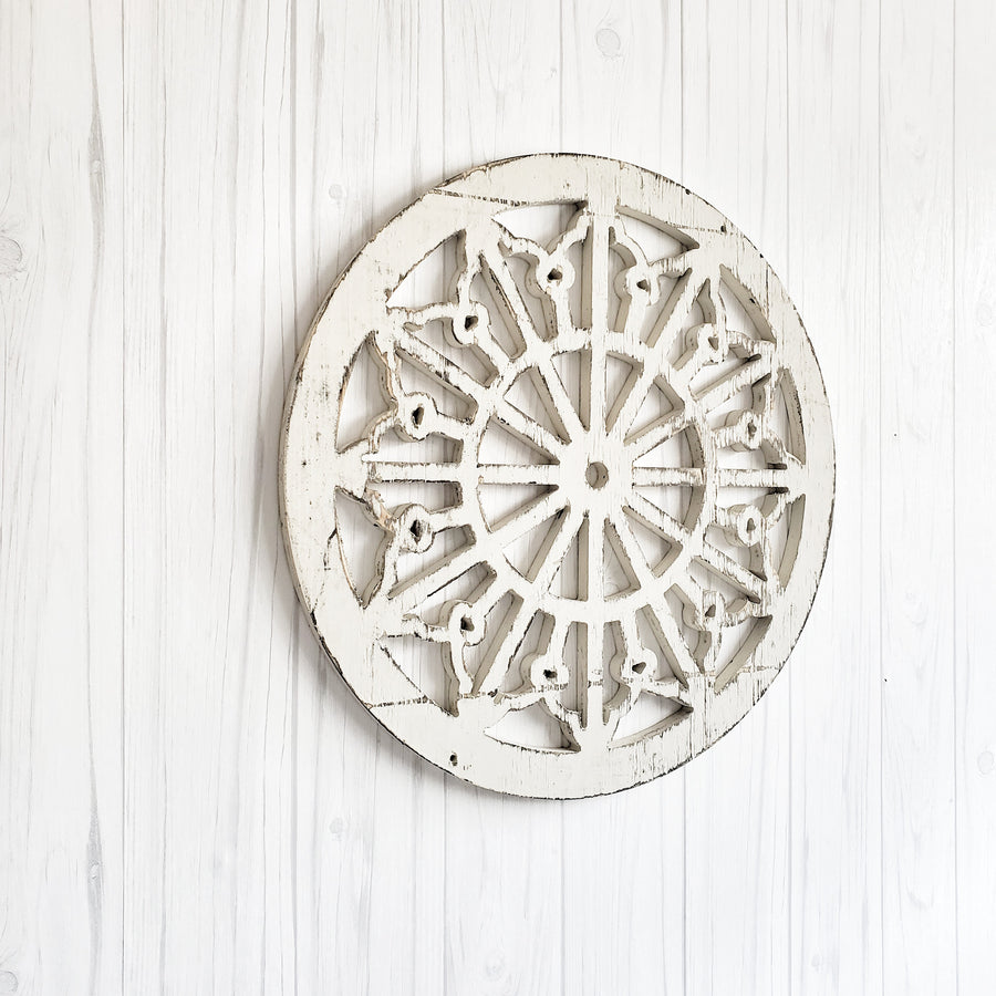 Chippy White Cut Out  Wood Medallion Blossom
