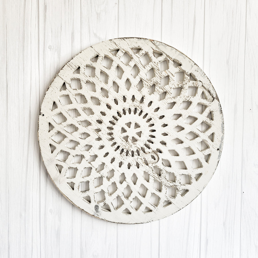 Chippy White Cut Out  Wood Medallion Burst