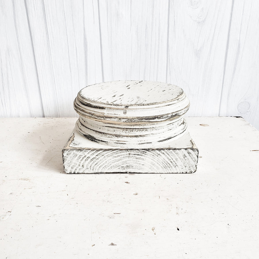 Chippy White Wood Architectural Base Riser 4 inch