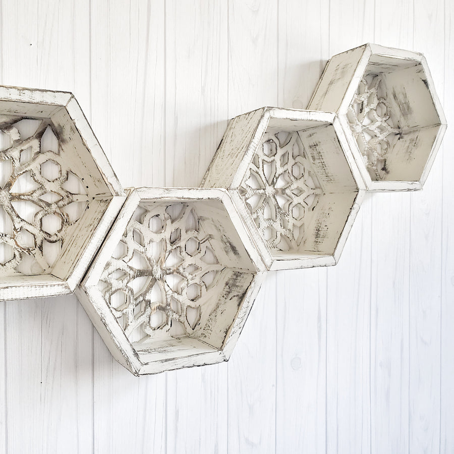 Chippy White Wood Honeycomb Shelf