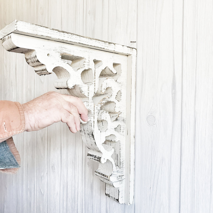 Distressed White Wood Chippy Corbel Large
