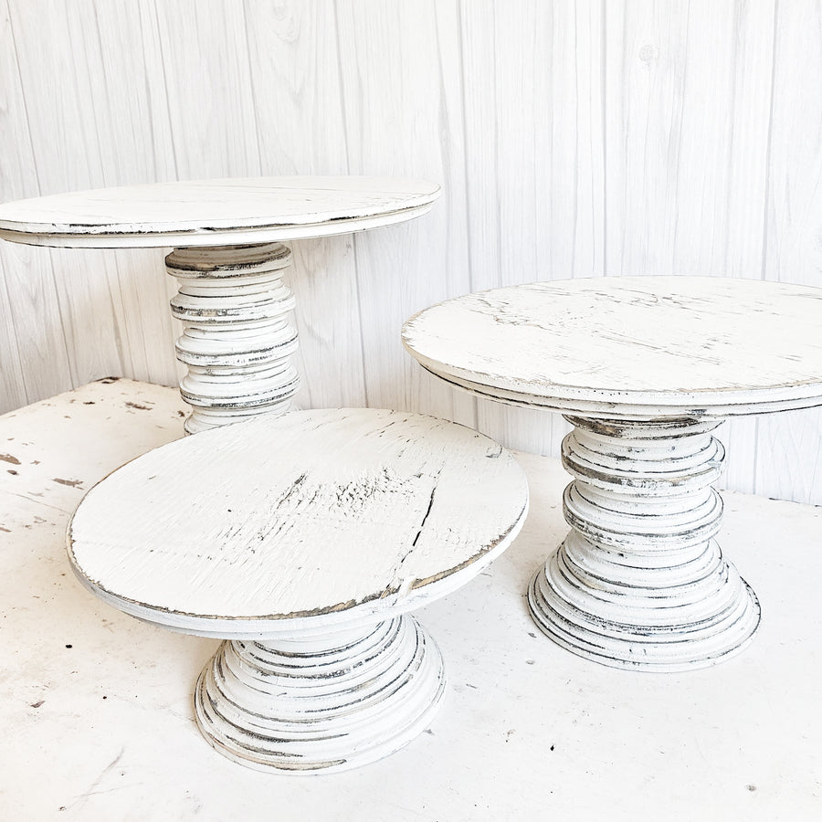 Distressed White Wood Chippy Pedestal Stand Medium