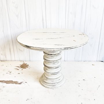 Distressed White Wood Chippy Pedestal Stand Large
