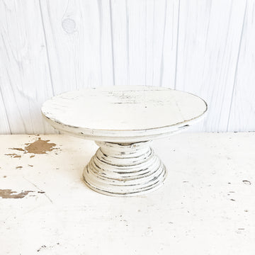 Distressed White Wood Chippy Pedestal Stand Small