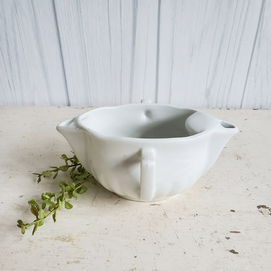 Vintage French Double Handle Ironstone Gravy Boat