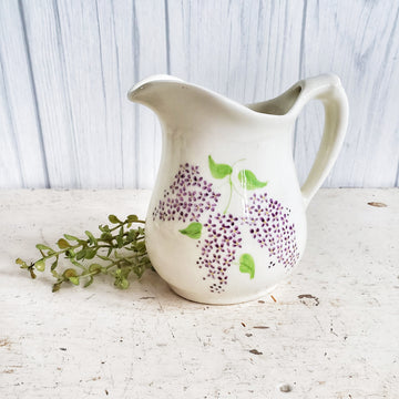Small Vintage Ironstone Pitcher with Handpainted Lilacs