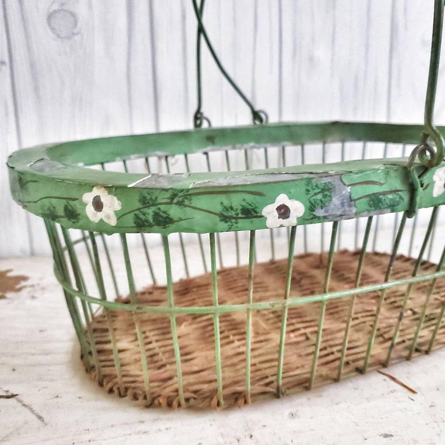 Vintage Handpainted Zinc Gathering Basket