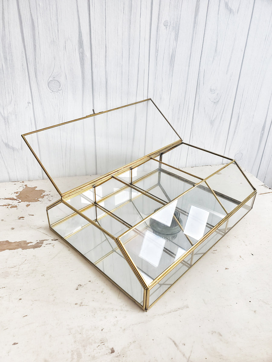 Vintage Glass Display Case with Brass Trim