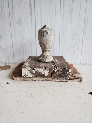 Vintage  Chippy White Architectural Porch Finial