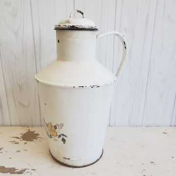 Tall Antique European Enamelware Water Jug with Lid