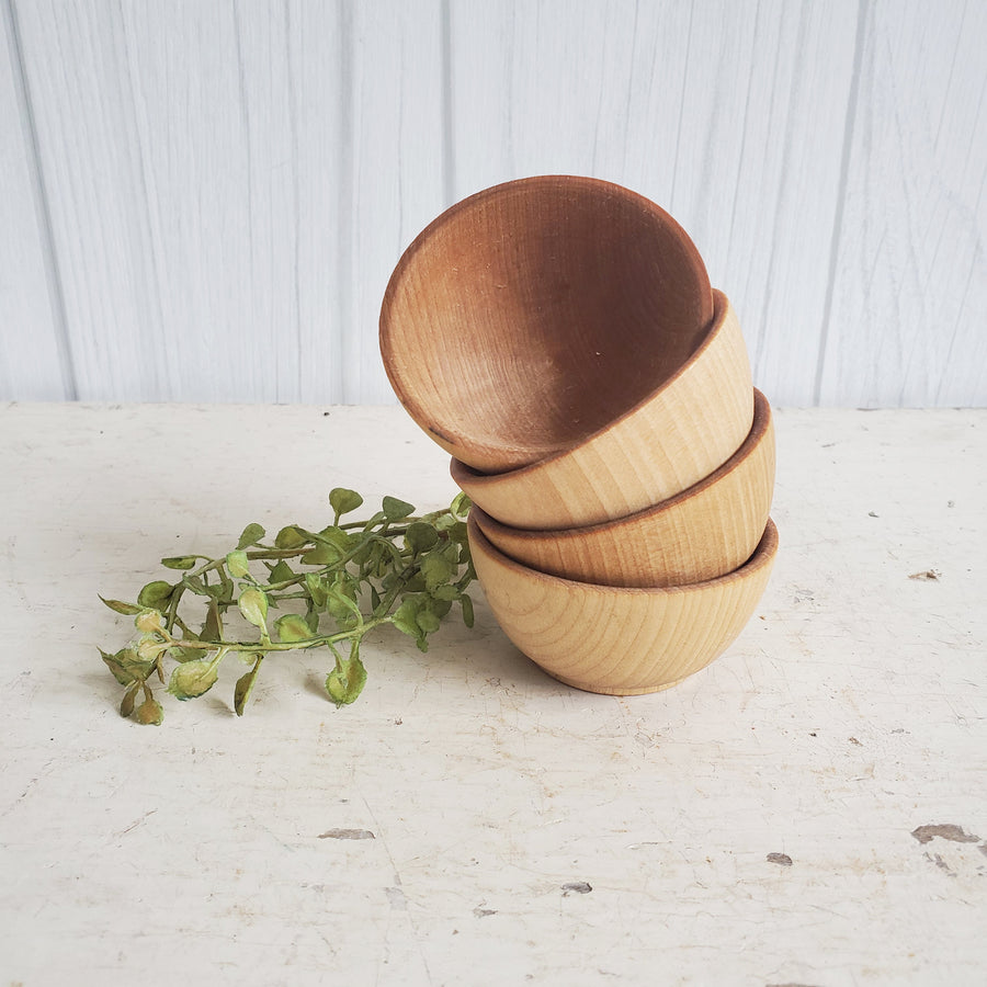 Set of Four  Mini Wood Bowls