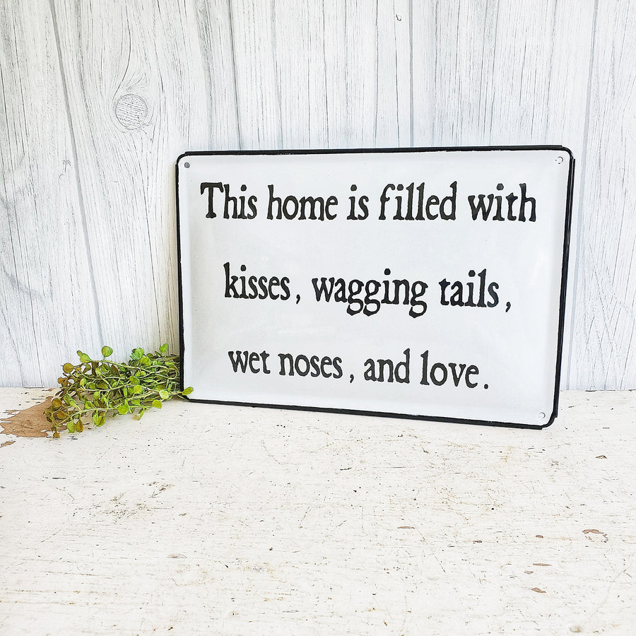 Black and White Enamel Ware Pet Sign