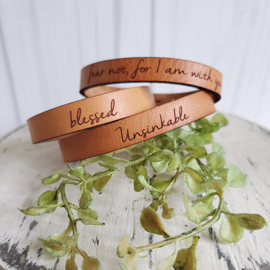 Handmade Stamped Leather Bracelet