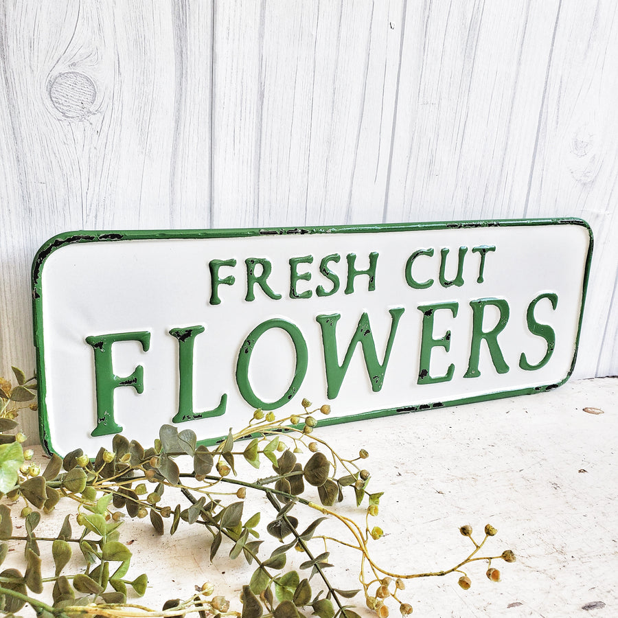 FRESH CUT FLOWERS Enamel Sign