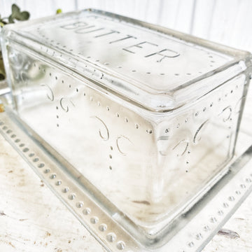 Thick Glass  Butter Dish