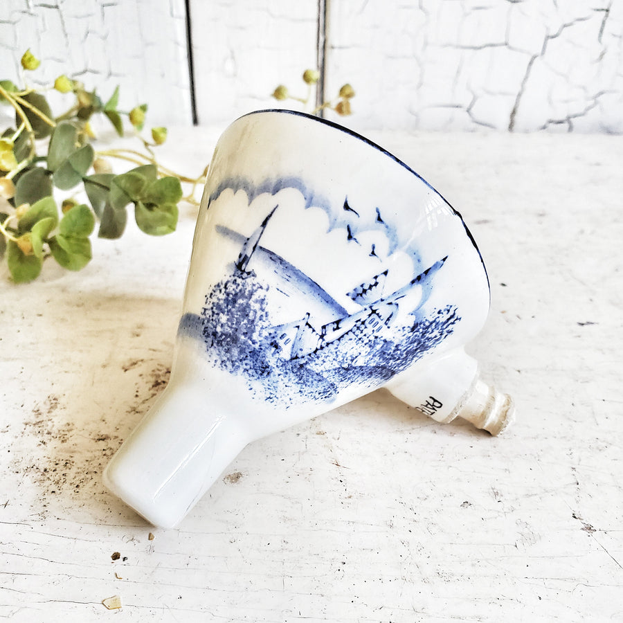Vintage Blue and White Transferware Funnel