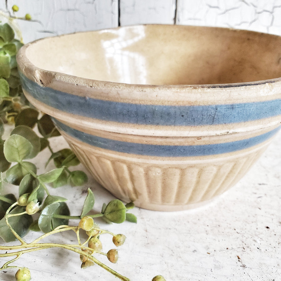 Antique Small Yelloware Bowl with Blue Band