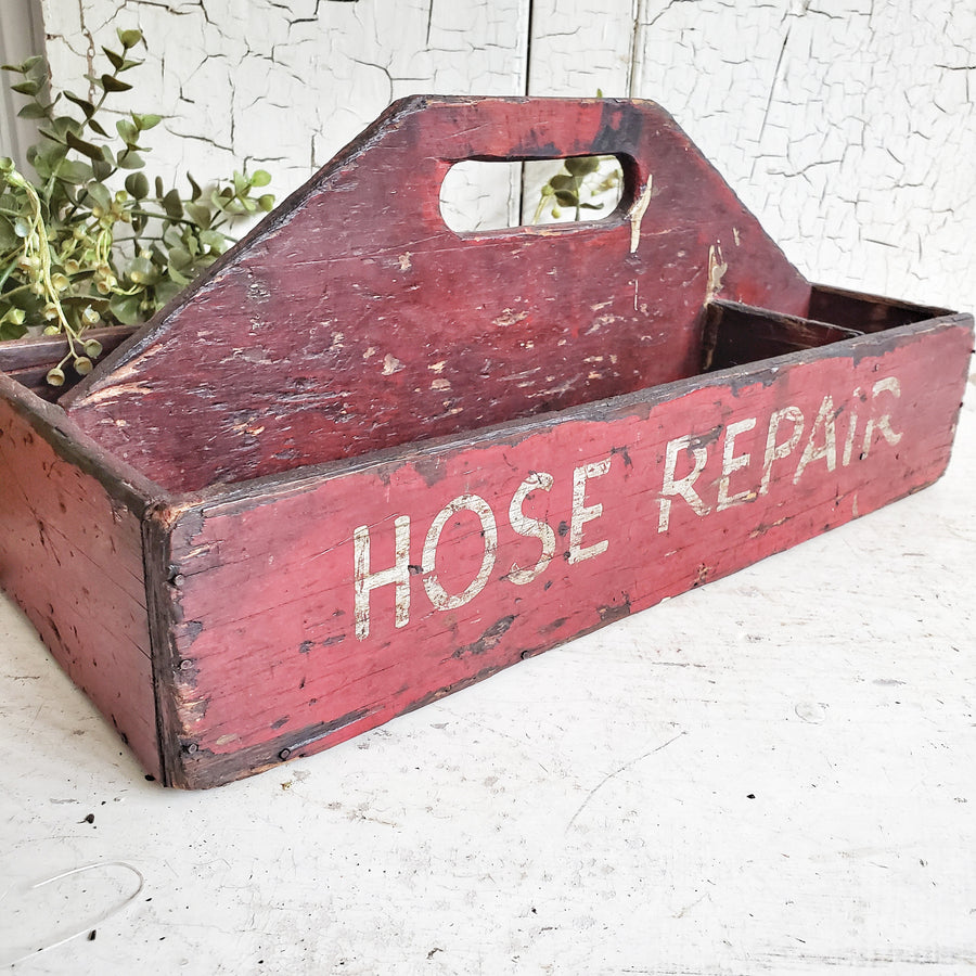 Vintage Handmade RED Firehose HOSE Repair Tote