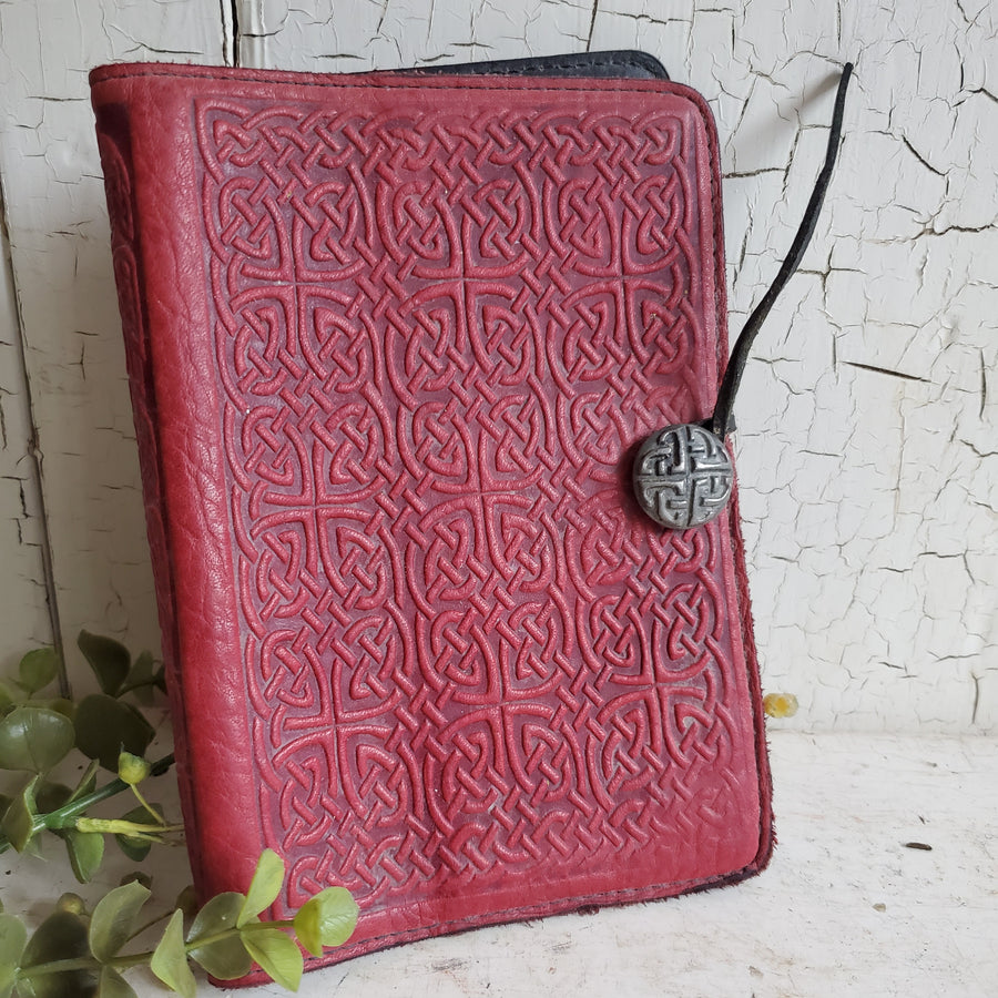 Vintage Red Leather Journal Cover