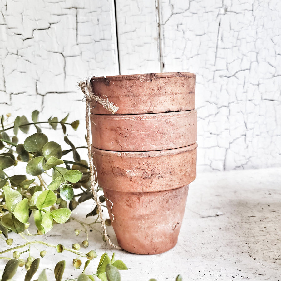 Stack of 3 Old  Terra Cotta Flower Pots