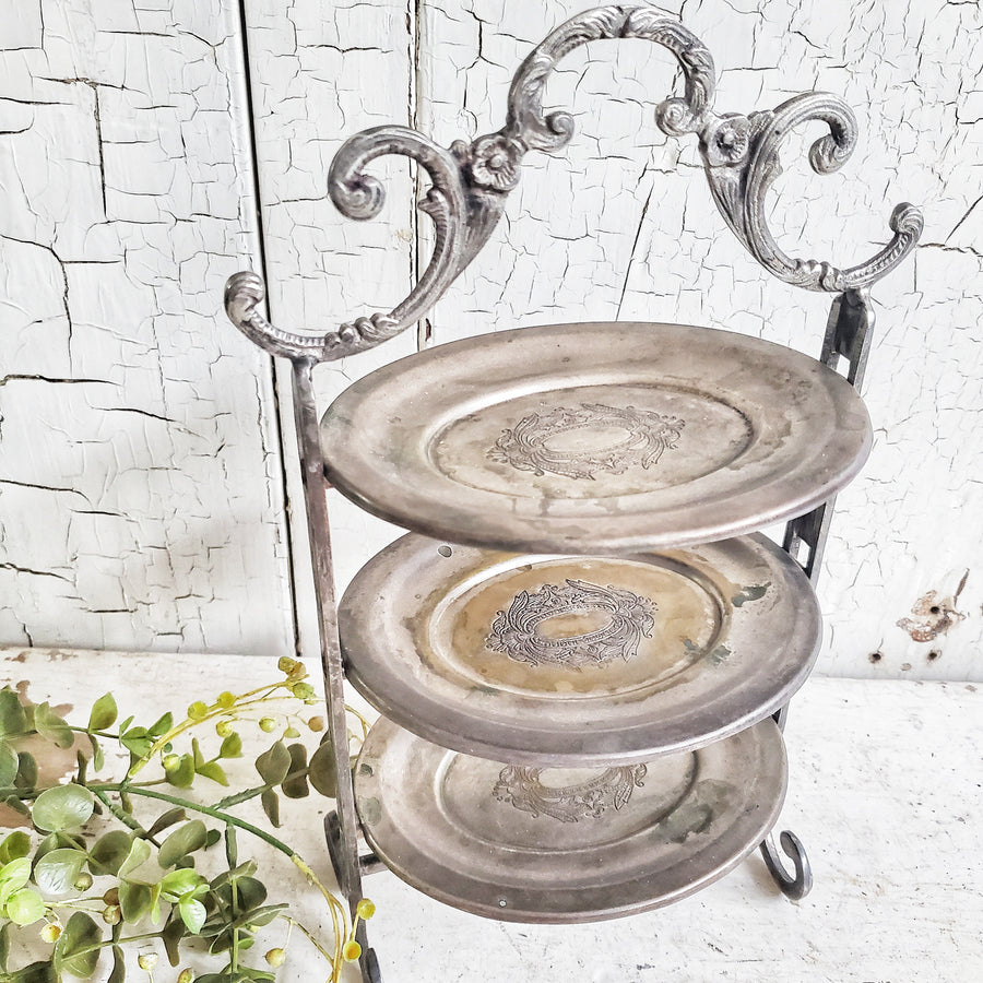 Vintage 3 Tier Silver Plate Stand