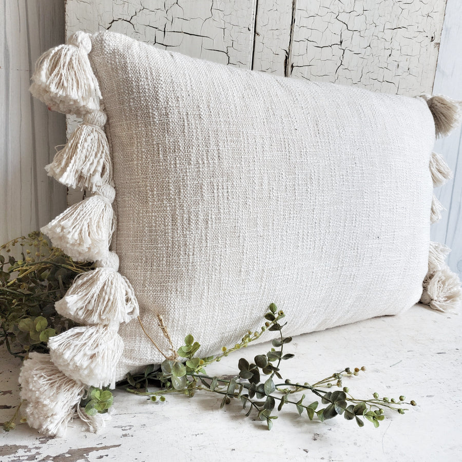 Cotton Slub Tassel Edge Pillow