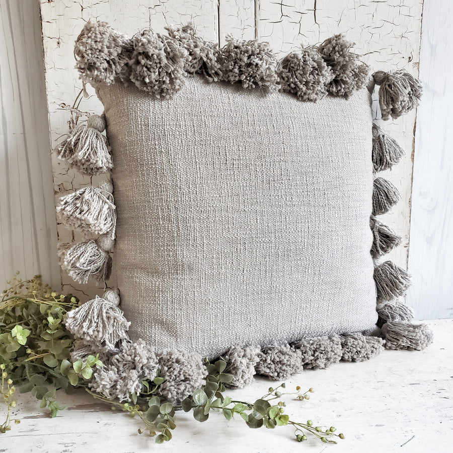 Cotton Slub Tassel Edge Pillow Gray