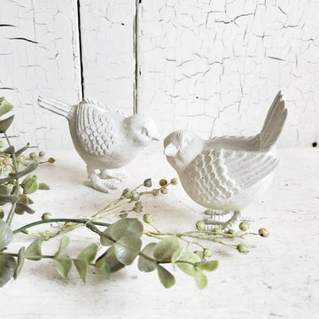 Pair of Vintage Style Chippy White  Birds