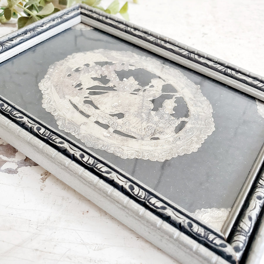 Vintage  Silver Leaf Embossed Little Bo Peep Framed Art