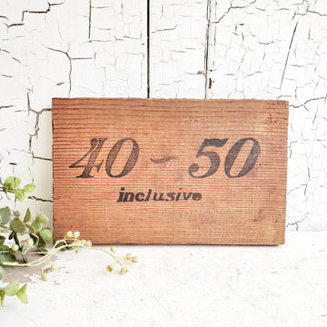 Vintage Wooden 40~50  Box Panel Sign