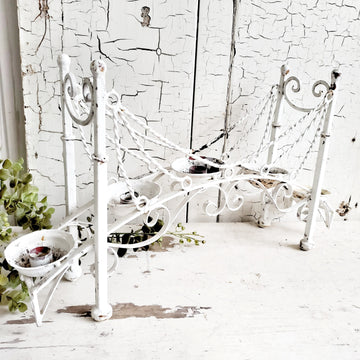 Vintage Chippy White Metal Arch Candle Holder