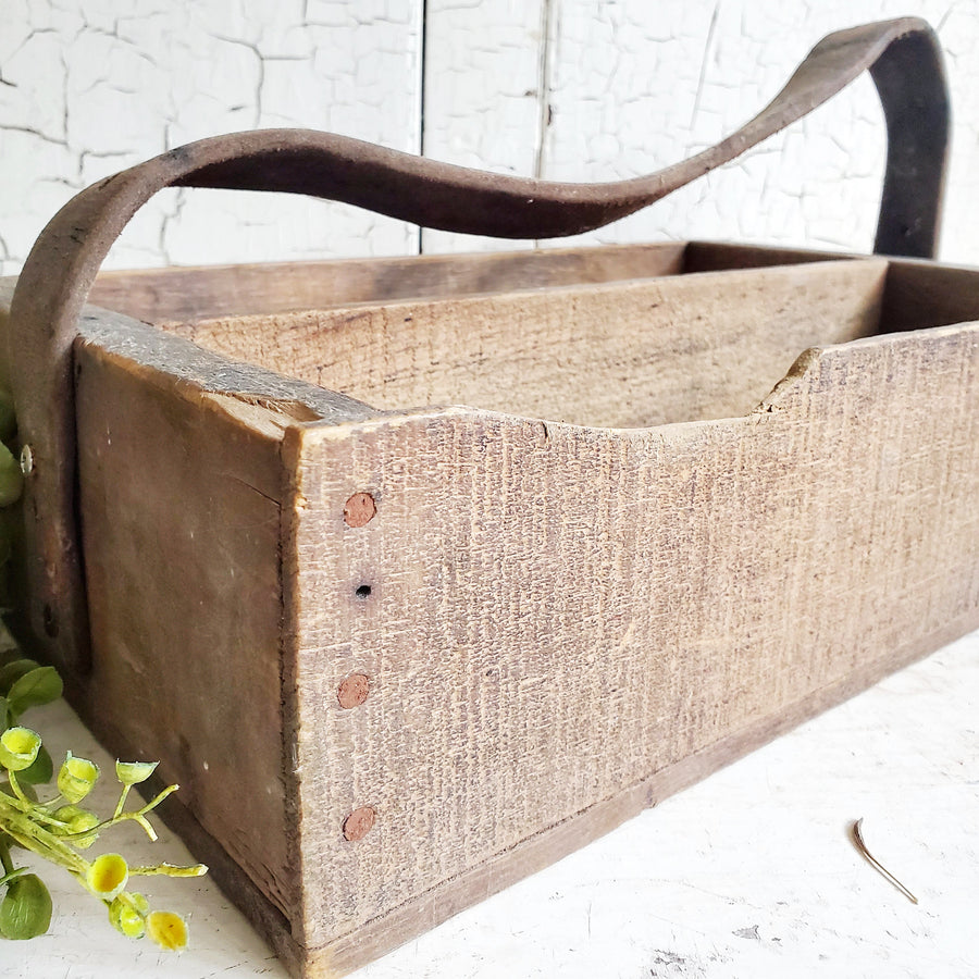 Wood Tool Tote with Leather Handle