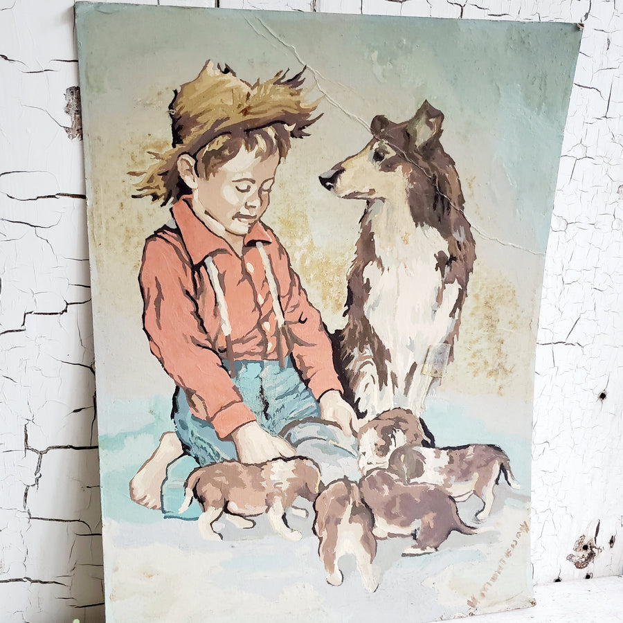 Vintage Paint By Number Boy and His Dog