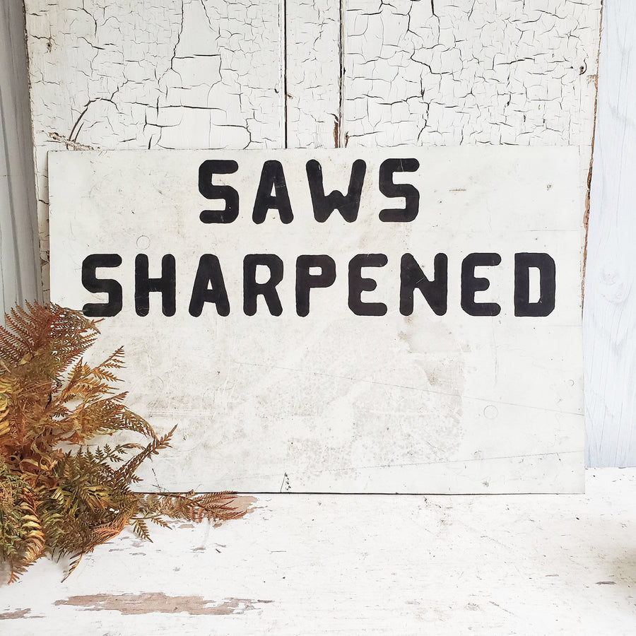 Vintage Metal Handpainted SAWS SHARPENED Sign
