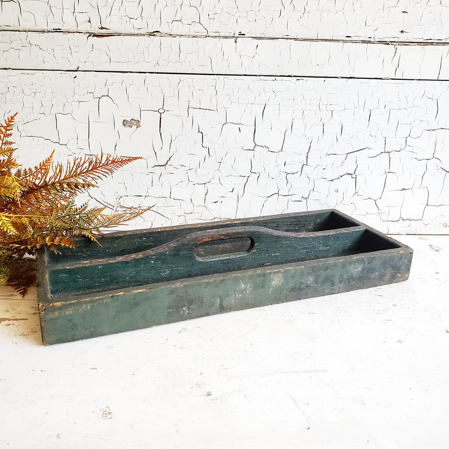 Chippy Vintage  Green Wood Tool Tote