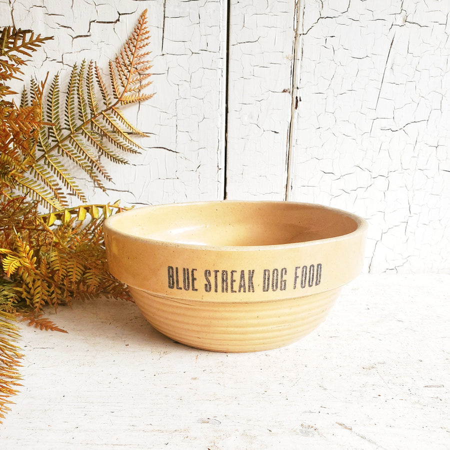 RARE Blue Streak Dog Food Yellowware Bowl
